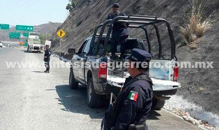 Policía Estatal Y Federal realizan trabajos de seguridad en Autopista del Sol y Carretera Federal Chilpancingo-Iguala
