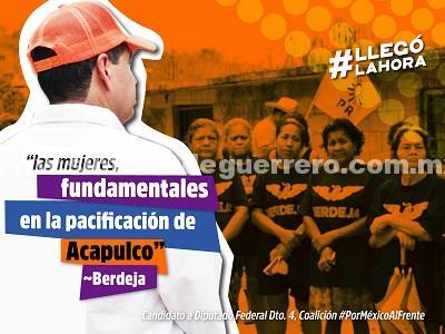"""""""Las mujeres, fundamentales en la pacificación de Acapulco"""": Berdeja"""