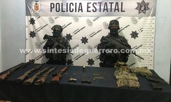 Aseguran Policía Estatal y Federal división gendarmería en Zirándaro de los Chávez armamento y equipo táctico