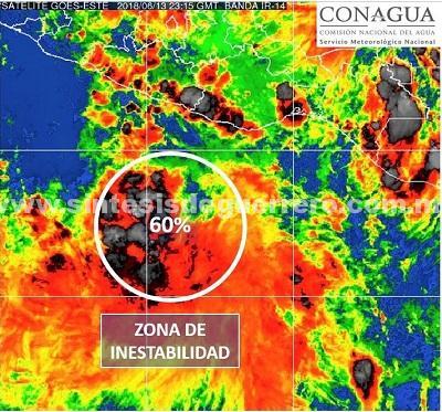 Alerta Protección Civil estatal que zona de inestabilidad ciclónica se desarrolla rápidamente