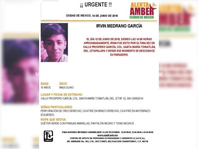 Alerta Amber: Ayuda al joven Irvin a regresar a casa