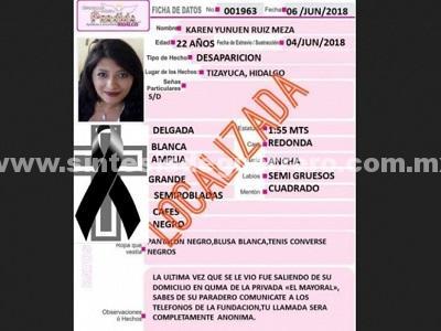 Nuevo feminicidio en Hidalgo; encuentran cuerpo de Karen Yunuen