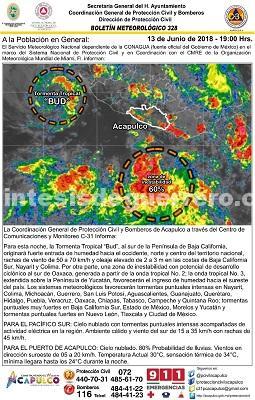 Activa gobierno de Acapulco protocolo de alertamiento ante ciclón tropical