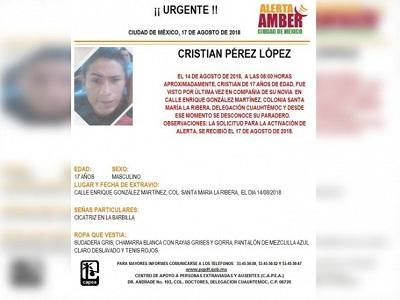 Alerta Amber: ayuda a Cristian a volver a casa