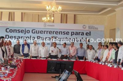 La prioridad del gobierno de Guerrero es el campo, confirma Astudillo Flores al Consejo Guerrerense para el Desarrollo Rural Sustentable