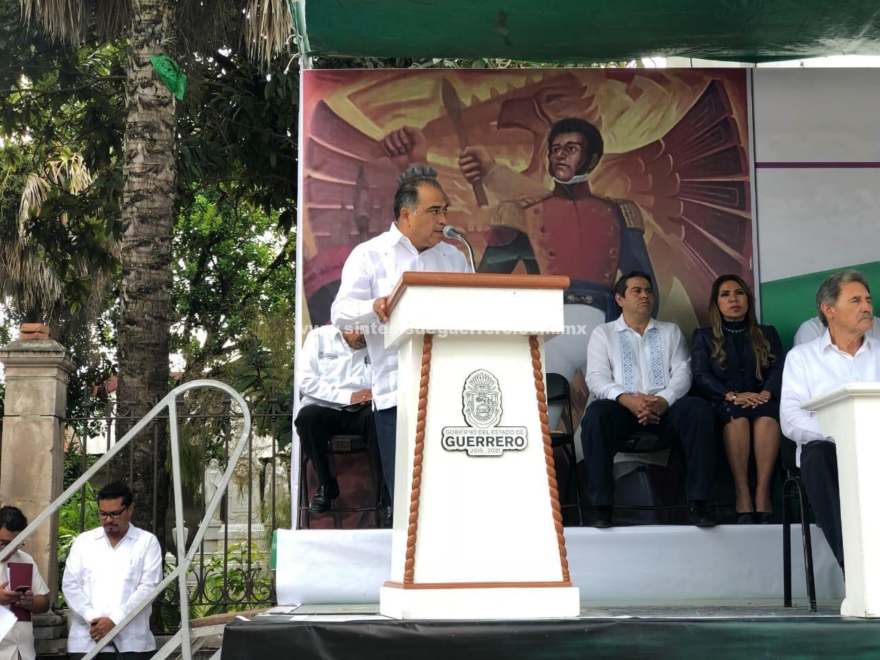 Presiden gobernador Hector Astudillo y Titular de Sagarpa, Baltasar Manuel Hinojosa el 236 Aniversario del Natalicio del General Vicente Guerrero Saldaña.