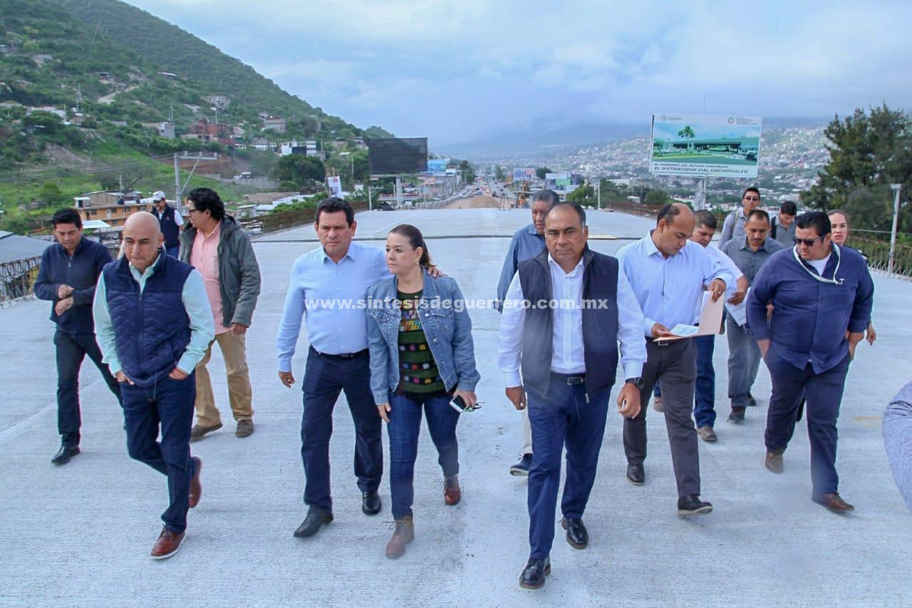 Distribuidor Chichihualco con más del 70% de avance; dará fluidez a la circulación hacia a Acapulco y las costas