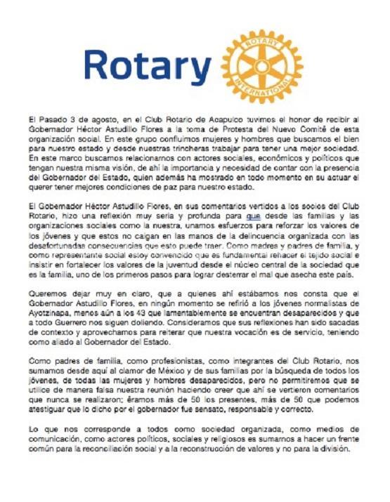 Sacan de contexto declaración del gobernador Astudillo ante Club Rotario