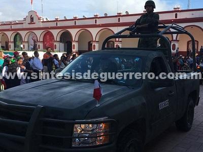 Sedena y Policía Estatal resguardan fiestas patrias en Chilapa, ante amenazas