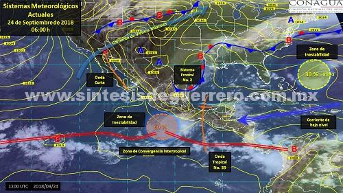 Lluvias fuertes por potencial ciclónico sobre las costas de Guerrero, alerta Protección Civil