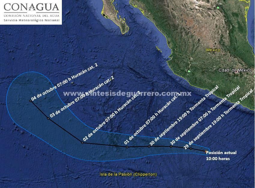 Se formó la tormenta tropical «Sergio» al sur de las costas de Guerrero, incrementando el potencial de lluvias fuertes para las próximas horas: SPCGRO