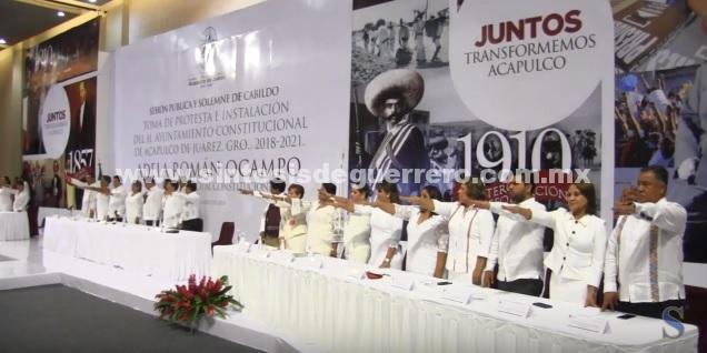 (Video) Toma protesta Adela Román Ocampo como la primera mujer presidenta municipal constitucional de Acapulco