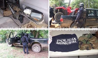 """Asegura Policía Estatal, grupo""""Jaguar"""" y Ejército Mexicano en Zihuatanejo dos vehículos, una cuatrimoto, probable cristal y armamento"""