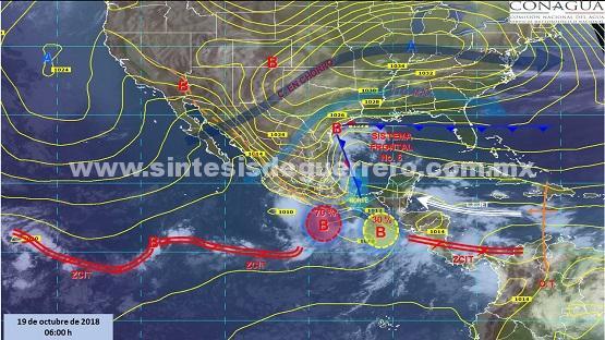 Vigila Protección Civil Estatal dos sistemas con potencial ciclónico que generará lluvias en Guerrero