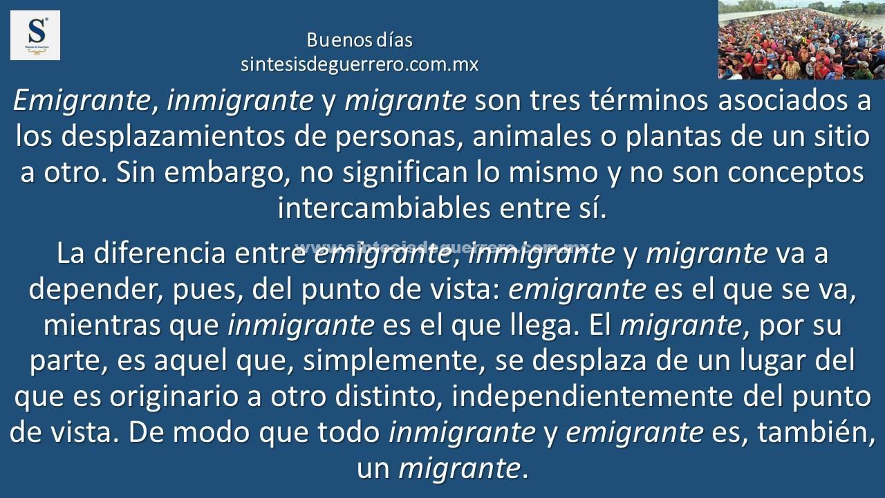 Buenos días. Migración
