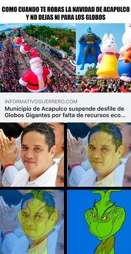 Caricatura: Como cuando te robas la Navidad de Acapulco y no dejas ni para los globos