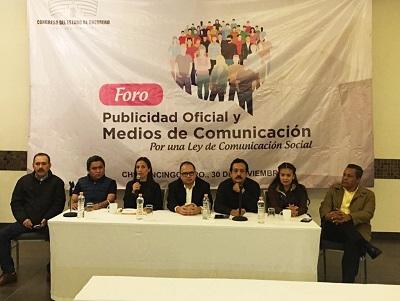 """Organiza Congreso Local el foro """"Publicidad Oficial y Medios de Comunicación. Por una Ley de Comunicación Social"""""""
