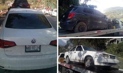 Asegura Policía Estatal en Filo de Caballos cuatro vehículos por su probable relación con hechos delictivos, tres de ellos con reporte de robo