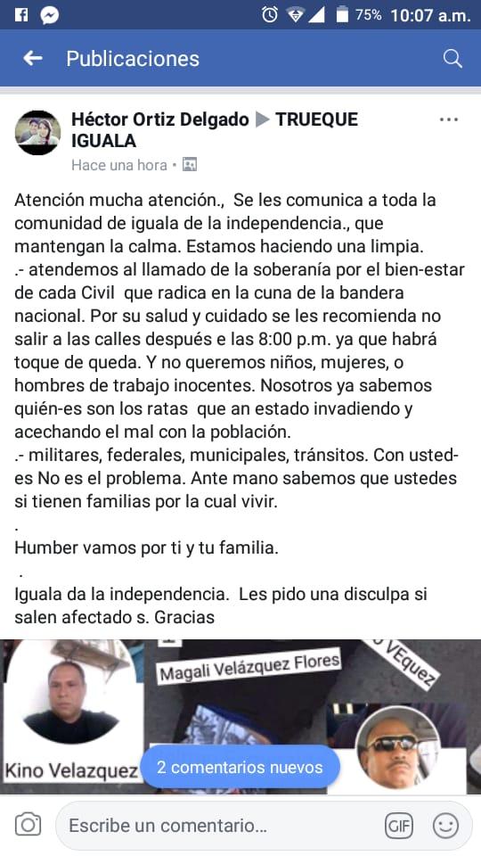"""Enmedio de una brutal guerra, criminales ordenan """"toque de queda"""" en Iguala"""