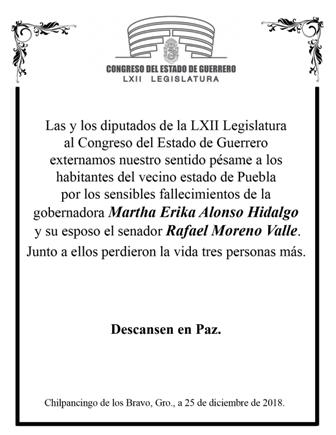 Lamentan diputados de Guerrero muerte de los Moreno Alonso