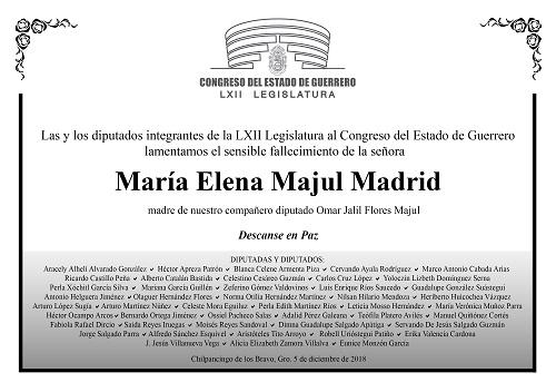 Esquela: María Elena Majul Madrid