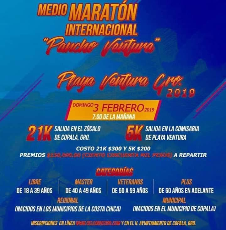 """El domingo  03 de febrero, Costa Chica albergará su tradicional el Medio Maratón """"Pancho Ventura""""."""