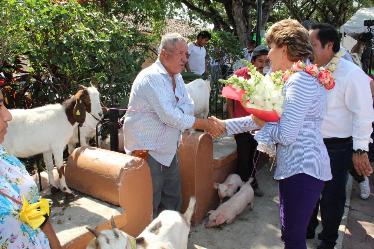 Entrega Mercedes Calvo parque infantil y diversos apoyos en Tepecoacuilco