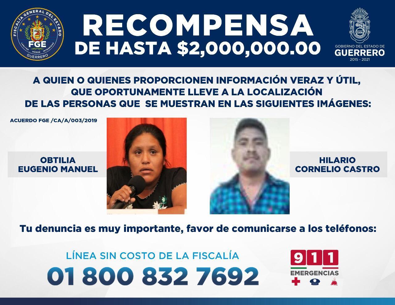 De 2 millones, la recompensa que ofrece la Fiscalía para localizar a Obtilia e Hilario