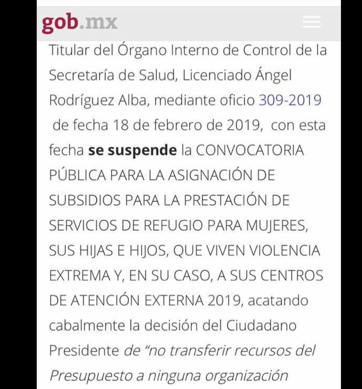 Suspende gobierno federal ayuda a mujeres víctimas de violencia en todo México