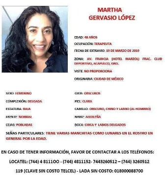 Desaparece terapeuta de la Ciudad de México en Acapulco