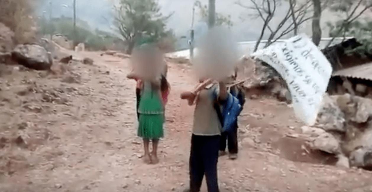 (Video) Niños armados con rifles de palo declaran la guerra a sicarios en Guerrero