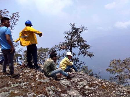 Pobladores de Azinyahualco combaten incendio en Chilpancingo