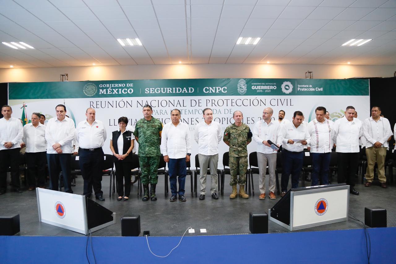 Astudillo Flores y tres secretarios de Estado, encabezaron la Reunión Nacional de Protección Civil para la Temporada de Lluvias y Ciclones Tropicales 2019.