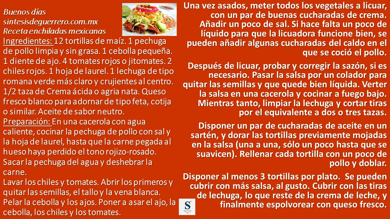 Buenos días. Enchiladas
