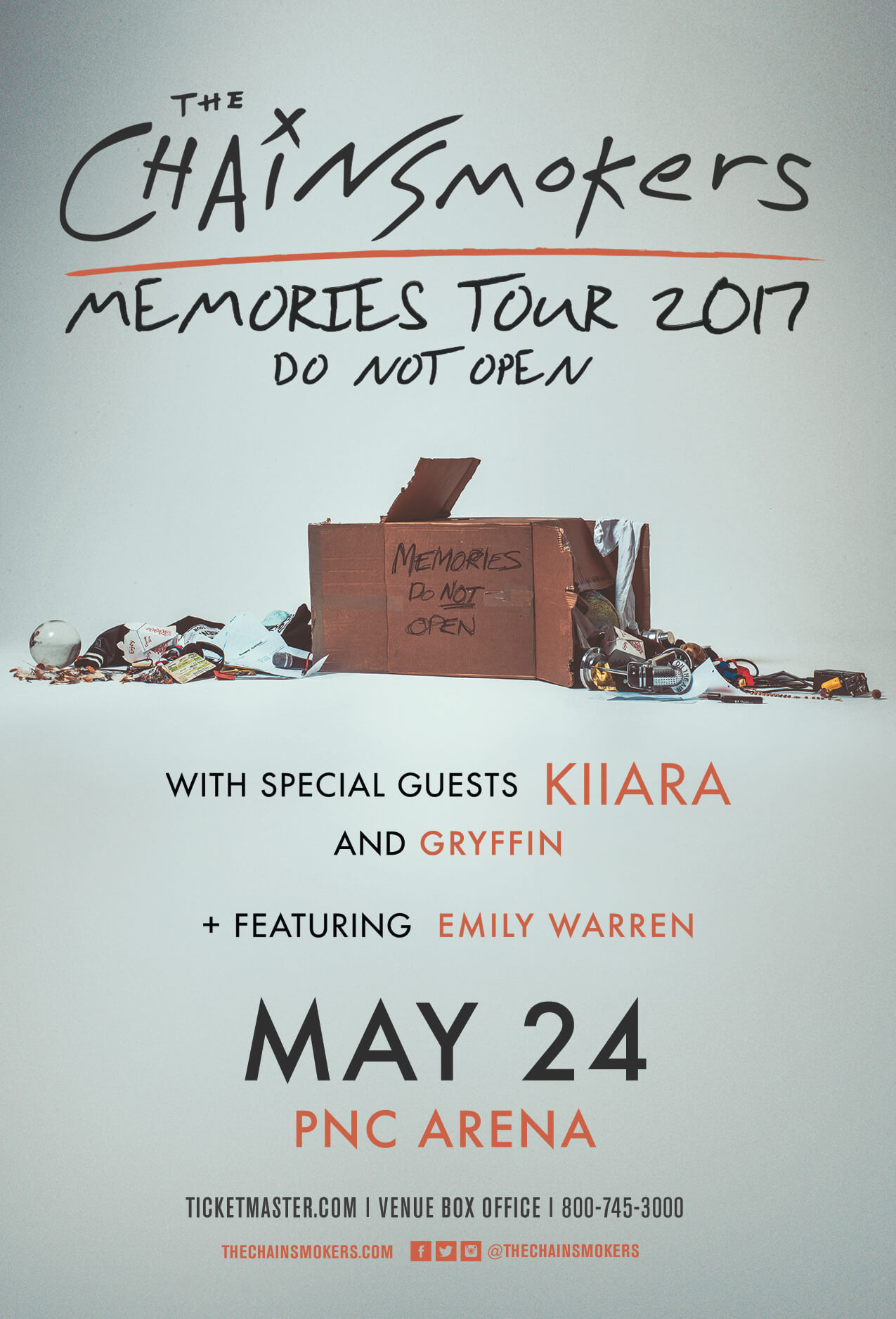 The Chainsmokers, Kiiara, Gryffin, Emily Warren in Raleigh