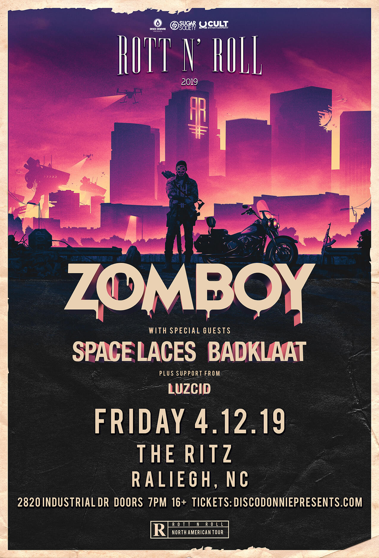 Zomboy, Space Laces, BadKlaat, Luzcid in Raleigh