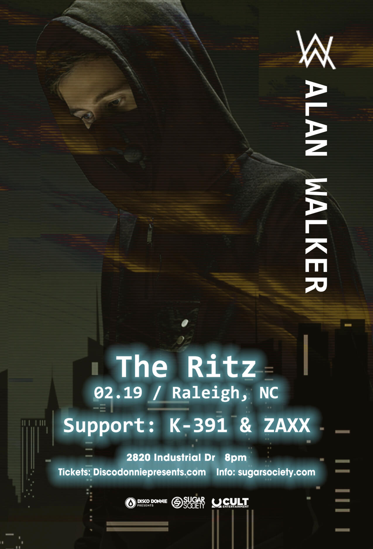 Alan Walker, K-391, Zaxx in Raleigh