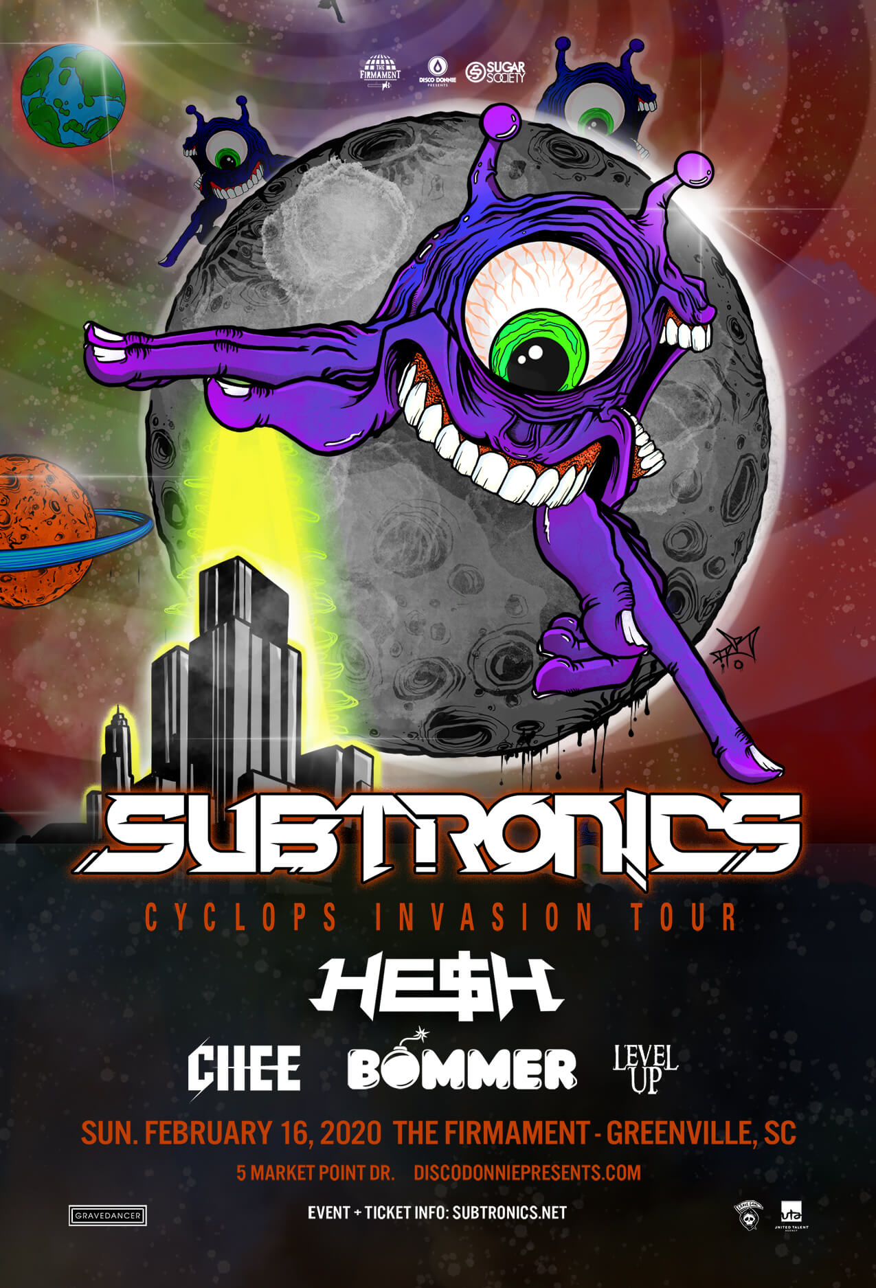 Subtronics, Hesh, Chee, Bommer, Level Up in Greenville