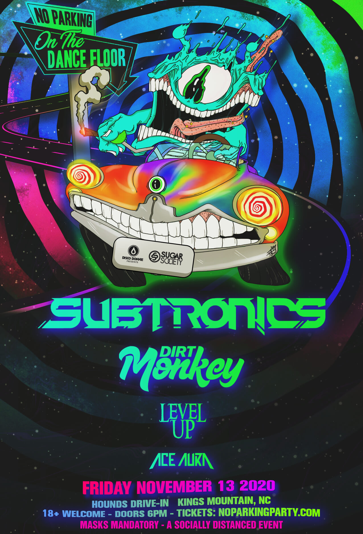 Subtronics, Dirt Monkey, Level Up, Ace Aura in Kings Mountain