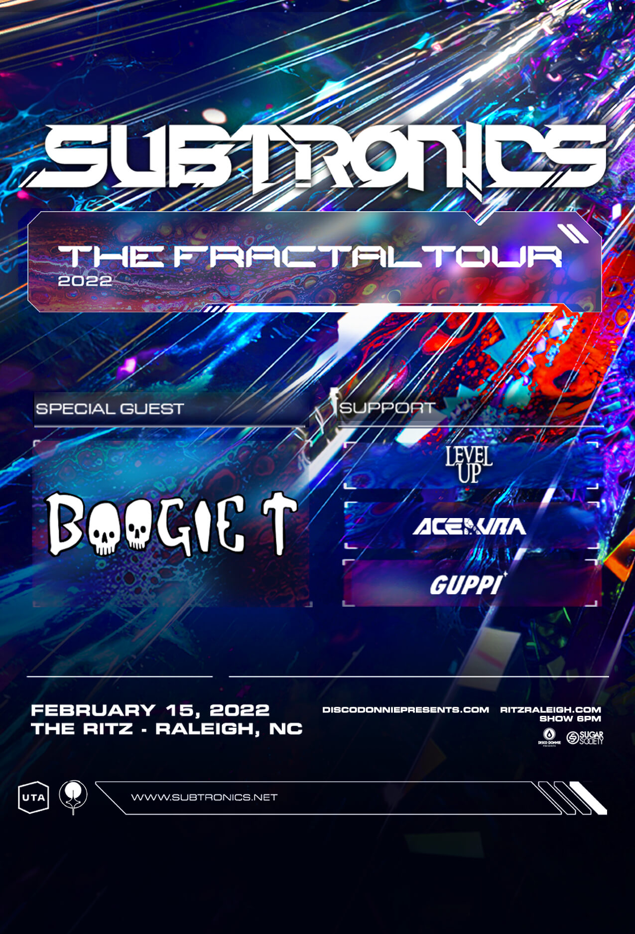 Subtronics, Boogie T, Level Up, Ace Aura, Guppi in Raleigh