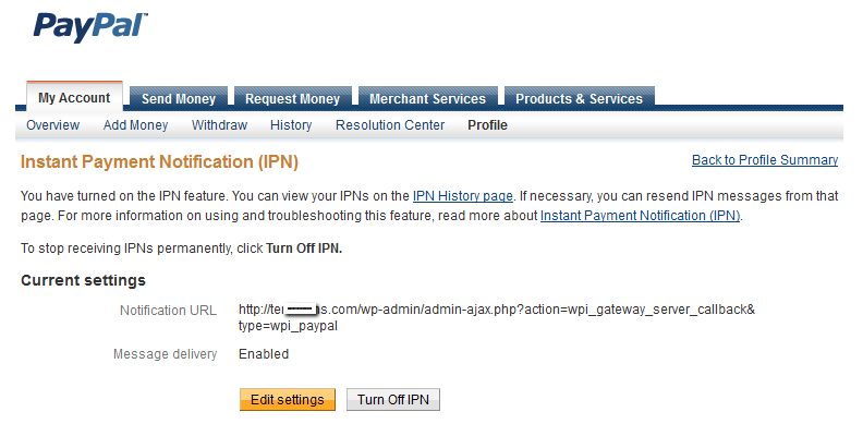 paypal payment settings in wp invoice plugin wp invoice