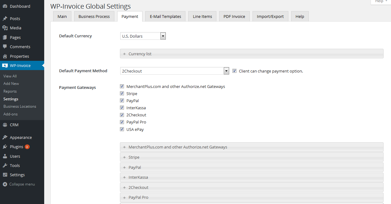 wp invoice settings payment tab wp invoice usability dynamics inc