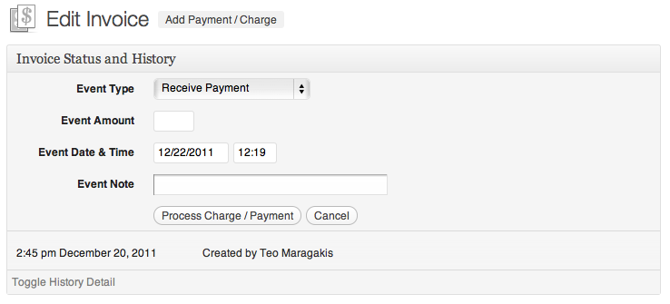 The Payments and Charges area