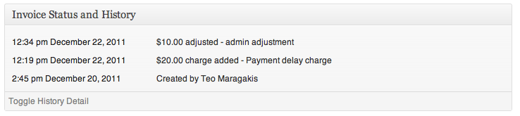 Charge events in invoice history