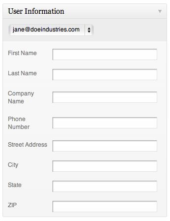 The user info metabox, empty