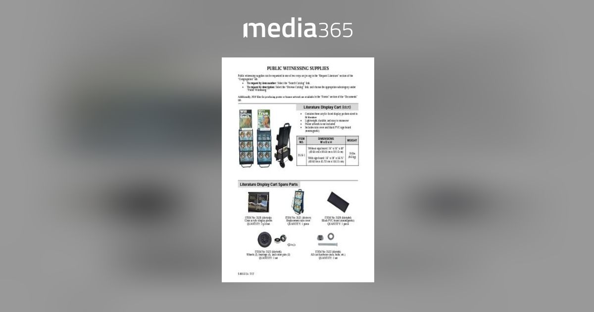 Public Witnessing Supplies S-80-E PDF | Media365