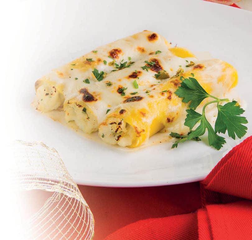 Cannelloni di mare con baccalà e capperi