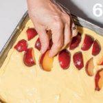 Torta con crema alla vaniglia, prugne e copertura di meringa