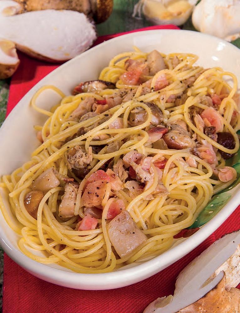 Spaghetti con guanciale, tonno e funghi