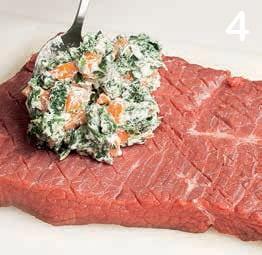 Roastbeef di manzo farcito con spinaci e carote